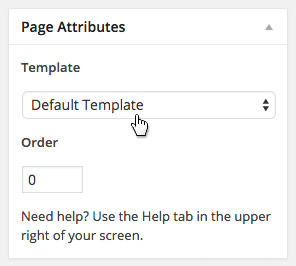 Find the Templates drop down menu in the right column when editing a page.