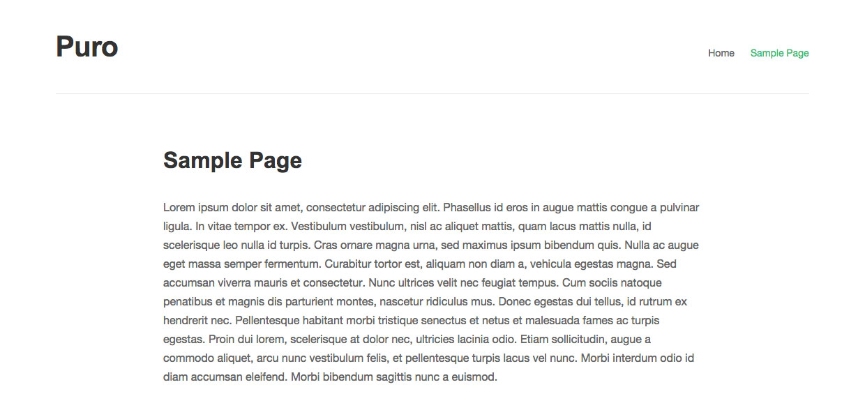 Puro Full Width Page Template