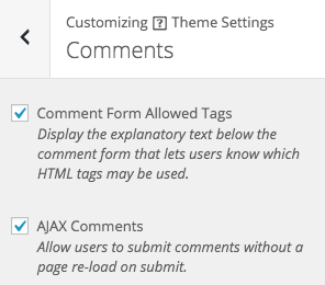 Appearance > Customize > Theme Settings > Comments