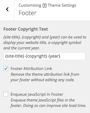 Appearance > Customize > Theme Settings > Footer