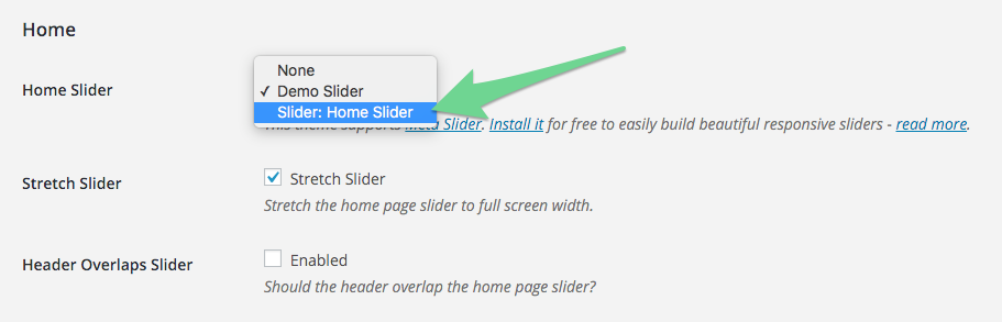 Select your newly created Meta Slider from Appearance > Theme Settings > Home > Home Slider.