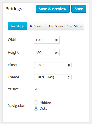 Ultra Meta Slider main slider settings.
