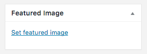 Add a featured image to any page using the right column link.