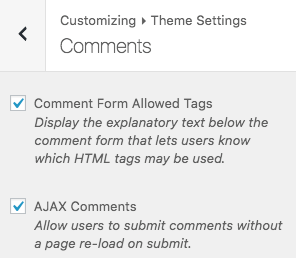 Theme Settings > Comments