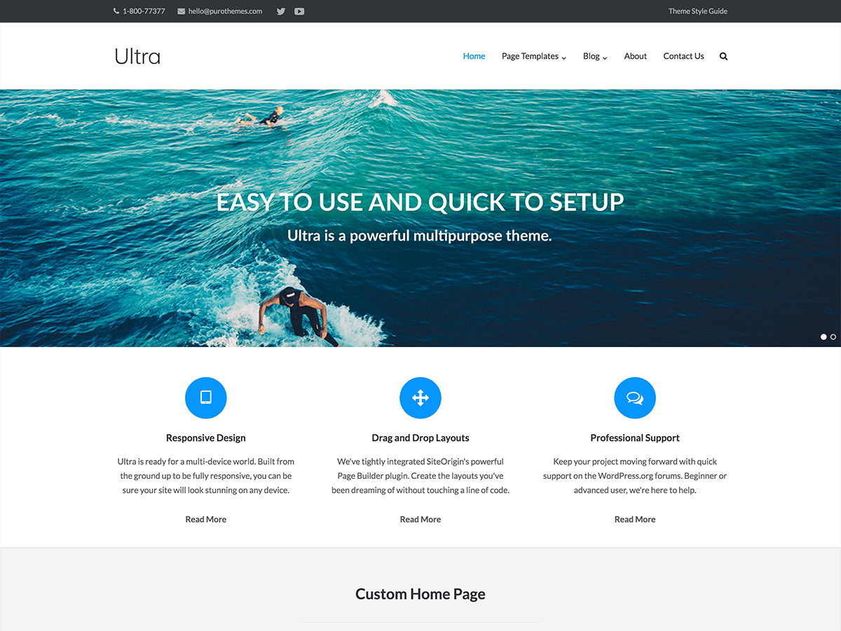 Ultra home page with a full width Meta Slider and SiteOrigin Features widgets below the slider.