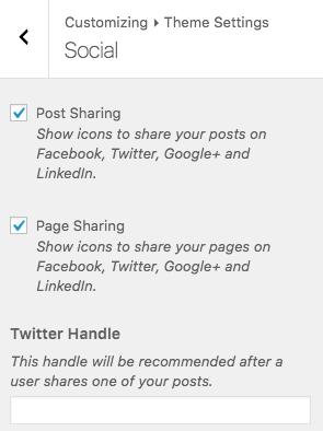 Theme Settings > Social